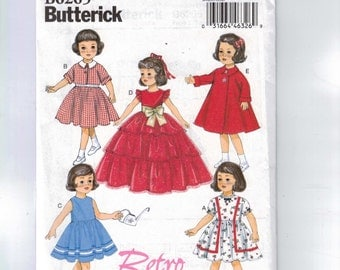Doll Sewing Pattern Butterick BP282 B6265 6265 Reproduction 18 Inch Retro Dress Formal Fancy Coat 1950s 50s Style Vintage UNCUT