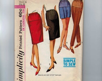 1960s Vintage Sewing Pattern Simplicity 6061 Misses Maternity Slim Skirt Shorts Pants Waist 28 Hip 38 60s 1965