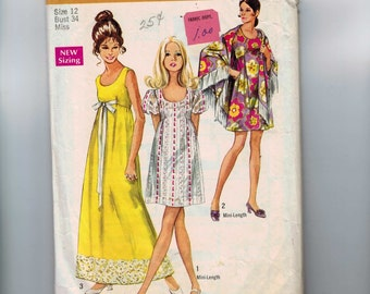 1970s Vintage Sewing Pattern Simplicity 8738 Misses Empire Waist Dress Maxi Size 12 Bust 34 1970s