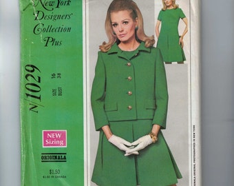 1960s Vintage Sewing Pattern McCalls N1029 1029 New York Designers Collection Originala Pleated Skirt Dress and Jacket Size 16 Bust 38 UNCUT