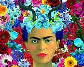 Frida Kahlo Print Instant Digital Download Poster Deer Retro Art Print Boho Vintage Photomontage Horns Home Deco Floral Flowers Aqua Red