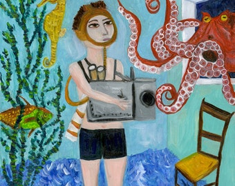 The love life of an octopus.   Limited edition print by Vivienne Strauss.