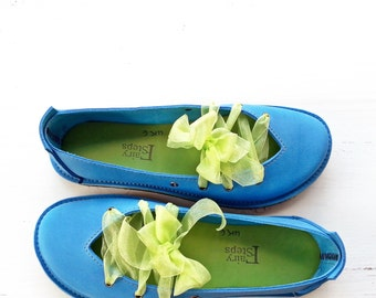 Vintage style, CLARA, Handmade Leather Blue Shoes by Fairysteps in Summertime blues, pick a colour