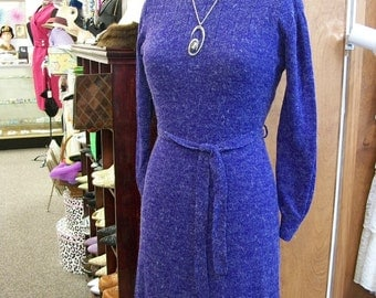 1970s Sweater Dress . Vintage Purple Fuzzy Knit Sweater Dress . Joni Blair of California . M L