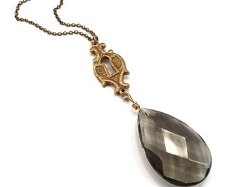 keyplate escutcheon chandelier crystal necklace, smoky topaz