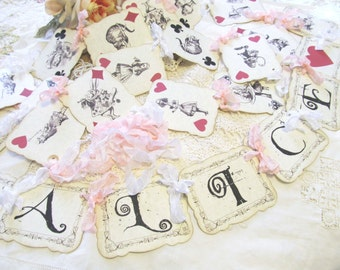 Alice in Wonderland Banner Playing Card with Ribbons - Personalized - Parchment Garland Bunting - Choose Ribbon Colors - Unbirthday Tea