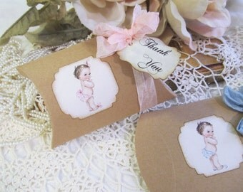 Vintage Style Baby Small Kraft Pillow Candy Box Shower Favor - Set of Ten - Baby Shower Its a Girl or Boy Favor Box Sprinkle