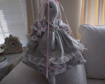 Stuffed /Bunny Rabbit  from Glenda's Rose Garden, Stripped Pinafore