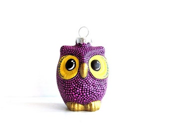Plum Purple Owl Christmas Ornament: dotted Owl Ornament Hand Painted Glass Ornament Christmas Owl