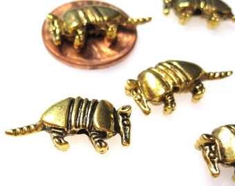 50% Off 10 pcs of Antique Gold 10x21x3.5mm Armadillo beads, 1mm Hole Beads MB1125 B17