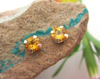 Citrine Studs - Genuine Golden Yellow Citrine Stud Earrings in Real 14k Gold, Sterling Silver, or Platinum - 3mm, 4mm, 5mm, 6mm, 8mm