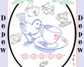 Vintage Style Embroidery Motifs for Embroidering Vintage Bird and Kitchen Designs E102