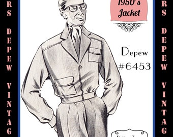 Menswear Vintage Sewing Pattern 1950's Men's Jacket in Any Size Depew 6453 - Plus Size Included -INSTANT DOWNLOAD-