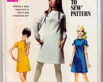 "Vintage Sewing Pattern 1960's Simplicity 7737 Ladies' A-line Dress 36"" Bust - Free Pattern Grading E-book Included"