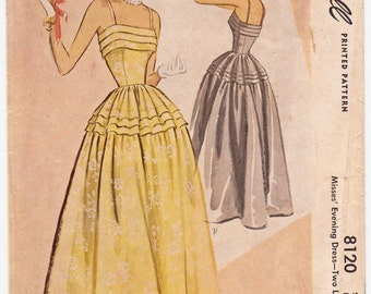 "ORIGINAL Vintage Sewing Pattern 1950's Ladies Evening Gown in 2 Lengths McCall's 8120 Size 32"" Bust - Free Pattern Grading E-book Included"