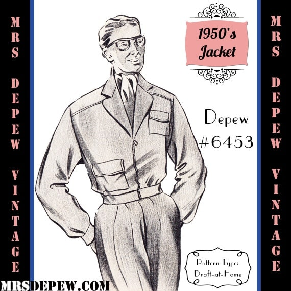 Men's Vintage Reproduction Sewing Patterns  1950s Mens Jacket in Any Size Depew 6453 - Plus Size Included -INSTANT DOWNLOAD- $7.50 AT vintagedancer.com