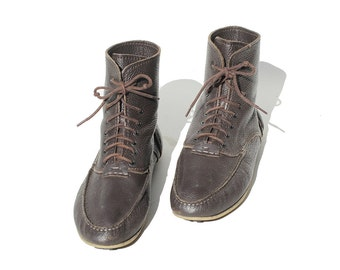 Size 10 Men'sDark Brown Leather Moccasin Ankle Boots