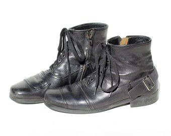 Men's Italian Black Leather Ankle Boots / size 8.5