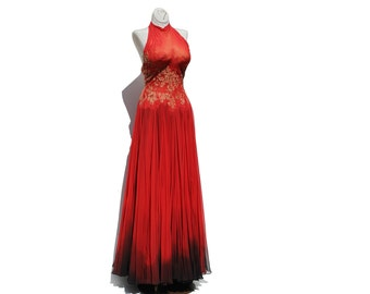 Vintage Red Silk Chiffon & Lace Dress / Floor Length Evening Gown