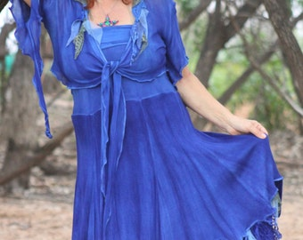 RESERVED Indigo Jewel strapless Tattered Fae Sundress with Matching Tie Front Top Dress can also be worn as skirt