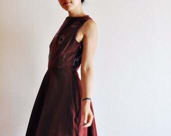 Wine Red Corduroy Dress with Leather Applique, Half Circle Skirt, Fit and Flare - Size S