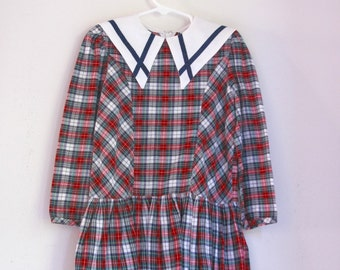 Vintage girls dress plaid sailor holiday outfit 4t