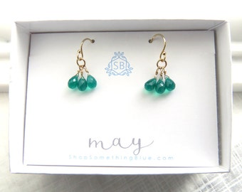 May Birthday Gift • Delicate Green Onyx Cluster Earrings • Green Gem Birthstone • Emerald Green Briolettes • Tiny Faceted Drops