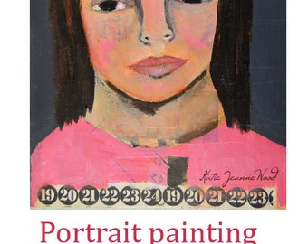 Mixed Media Collage Woman Naive Portrait Painting. Pink Acrylic Painting for Home Wall Art Decor. Apartment Decorations