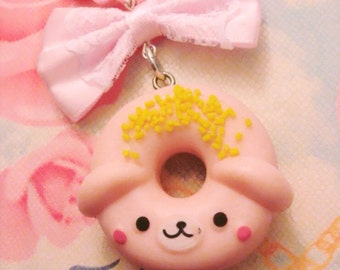 Pink Animal Donut Pastel Bow Pearl Necklace