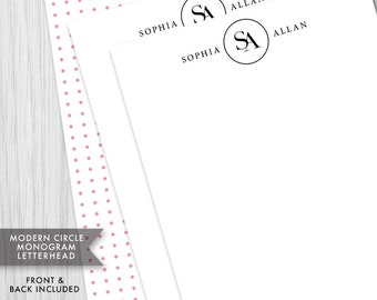 Midern Circle Monogram Letterhead - Stationery, Custom initials and Colors, Letter size or A4, Diy Digital Printable PDF - #149B