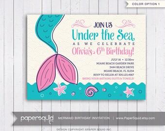 Mermaid Birthday Party Invitation, Under the sea Invitation, Magical Mermaid Invitaiton, Personalized, Digital DIY Printable File, Item 182