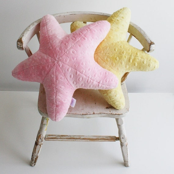 Super Soft Small and Squishy Minky Starfish Pillow  - Great for Baby and Toddlers- Light Pink