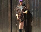 Chinese Dress // Cheongsam Mini Dress // Long Sleeve // Dragon Print // Novelty Print // Satin Dress // Kate Bush // 90s Clothing // XXS XS