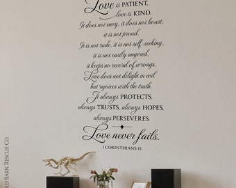 Love Quote - Love is patient, love is kind - 1 Corinthians 13 - Wall Decal - Christian Wall Art
