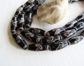 tube Lampwork glass beads, black white brown , opaque tone ,  ethnic design indonesia , 27 - 30mm  ( 4 beads ) 7AB37