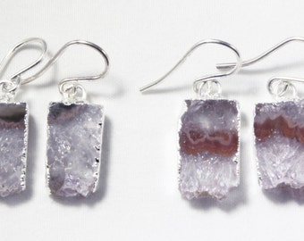 Raw Amethyst Geode Slice Earrings Gemstone Earrings February Birthstone Earrings One of a Kind Geode Earrings AM-E-101B-011s