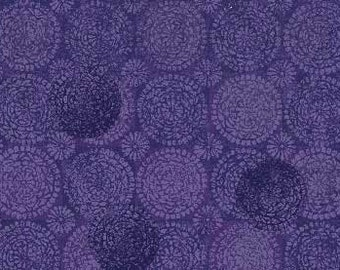 Circles Purple Moon over Waterfall Red Rooster Fabric 1 yard