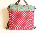 Red and white Polkadots cute convertible women's bag, vegan handbag, cotton backpack,messengers convertible bag,school bag,small diaper bag