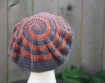 Crochet Cotton Hat, Slouchy Beret Style Hat, Spiral Hat, Pewter Gray, Red Rust, All Weather Accessory