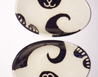 decorative oval bowl: Cat white black kitty lover theme ceramic art ceramic