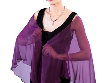 SALE 40% off Formal sheer silk  SHAWL/ WRAP in Royal Purple color
