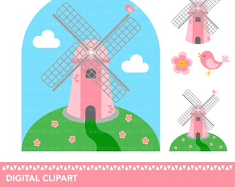 Cute Pink Windmill on hill clipart - High Quality - 300 dpi - JPEG and PNG - instant download - digital art