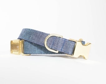 Watercolor Linen Dog Collar - Indigo