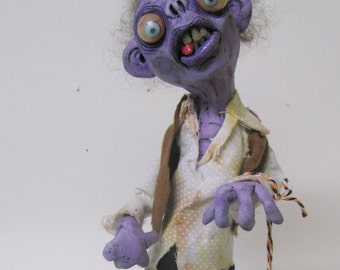Zombie lowbrow figures art doll polymer clay ooak sculpture one of a kind by mealy monster land werewolf