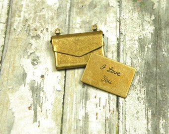 Small Brass Envelope Pendant with I Love You Letter Insert Brass Ox {1pc} F151-BOX