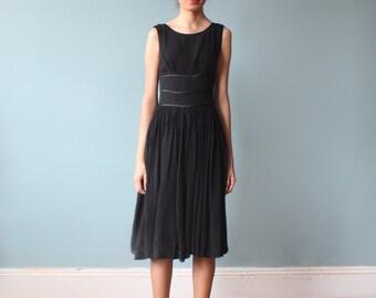 black cocktail dress / 1950s chiffon ribbon party dress / xs