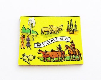 1960s Wyoming Brooch - Pin / Unique Wearable History Gift Idea / Upcycled Vintage Hand Cut Wood Jewelry / Timeless Gift Under 25