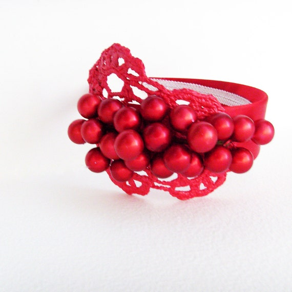 Red Winter Berries Headband - Head Piece / Festive Holiday Fashion / Cranberry Red Metallic Berries, Red Metallic Lace, Red Satin