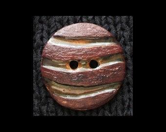 Handmade Ceramic Button: Maroons, Orange, Ambers, Browns