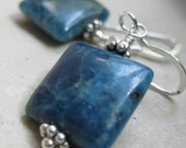 Blue stone earrings, square dark apatite gemstone, handcrafted simple everyday jewelry, large stones, classic style present for mom her gift